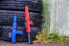 Razorback-in-Red-with-Stock-and-Blue-Elite Laser Tag Equipment