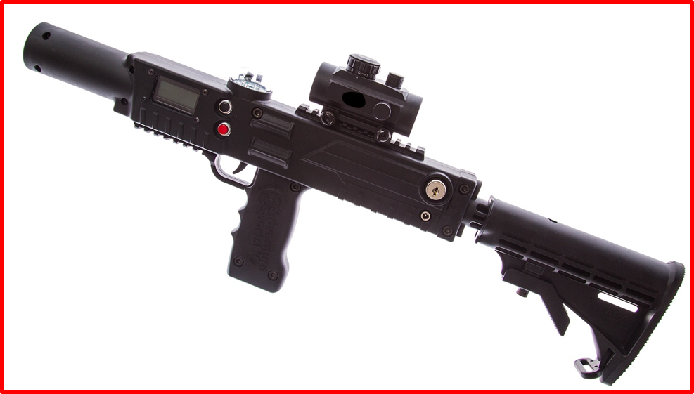 Black razorback laser tag rifle with stock - laser tag equipment by Elite Laser Tag