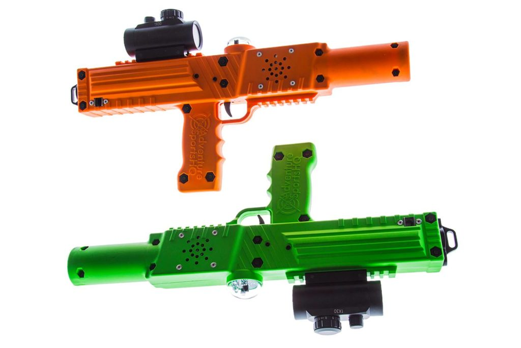 Orange and green Razorback laser tag gun rifle tagger by Elite Laser Tag Equipment