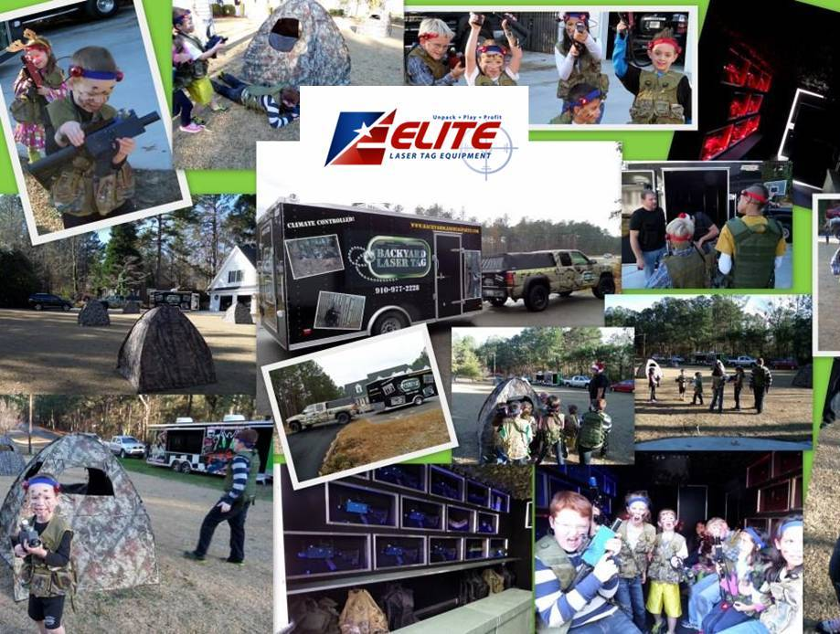 Collage of laser tag photos by Elite Laser Tag equipment