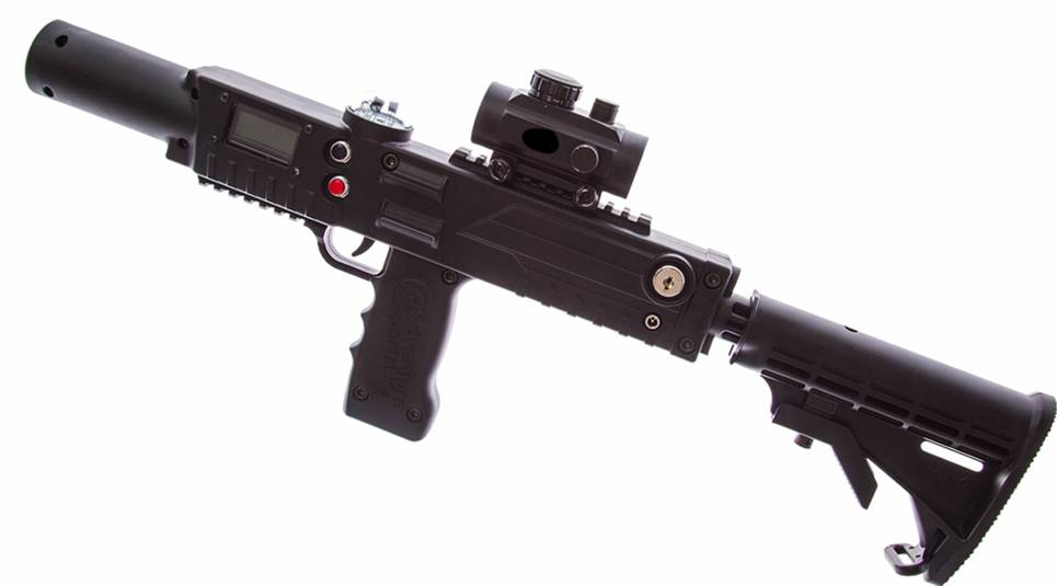 Black razorback laser tagger with stock - Elite Laser Tag Equipment